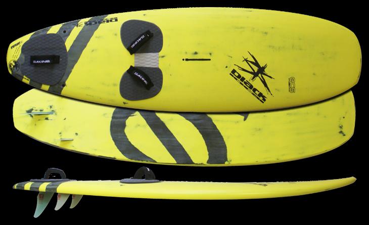 "SUMO/WINDSURF Super Big Wave board  129 l 243x72   8,8 kg   Artwork  ""YELLOW IO Logo""  MUF 11,5/20,5   Taille /Volume sur commande"